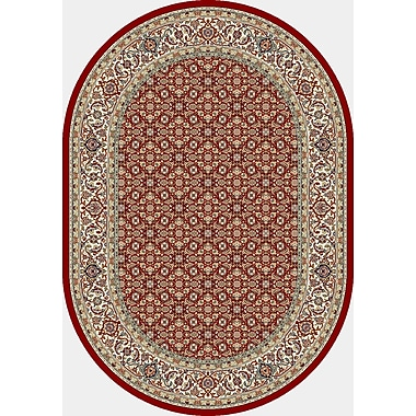 Dynamic Rugs Ancient Garden Red/Ivory Area Rug; Oval 6'7'' x 9'6''