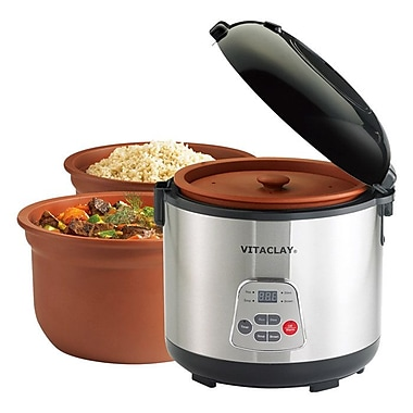 Vitaclay Slow Rice Cooker; 6 Cups (Uncooked rice)12 Cups of Cooked Rice)