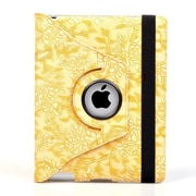 Bargain Tablet Parts Ipad 2 and Ipad 3 Embossed Flower Rotating Case; Yellow