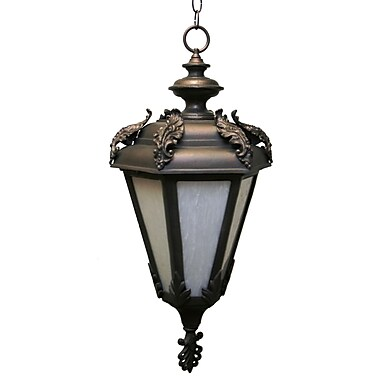 Melissa Parisian Elegance 3 Light Outdoor Hanging Lantern; Aged Silver
