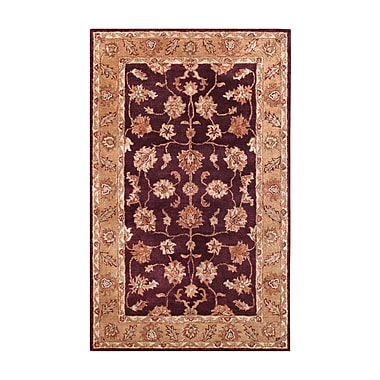 Noble House Golden Burgundy/Gold Area Rug; 5' x 8'