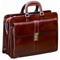 Mancini Signature Leather Laptop Briefcase; Brown