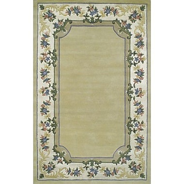 American Home Rug Co. Beautiful Yellow/Ivory Border Pale Floral Border Area Rug; 3'6'' x 5'6''