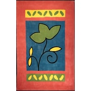 American Home Rug Co. Bright Rose/Blue A Single Flower Area Rug; 5' x 8'