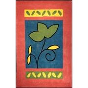 American Home Rug Co. Bright Rug Rose/Blue A Single Flower Novelty Rug; 3'6'' x 5'6''
