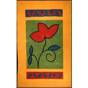 American Home Rug Co. Bright Yellow/Green A Single Flower Area Rug; 5' x 8'