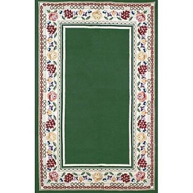 American Home Rug Co. Bucks County Emerald Green/Ivory Border Area Rug; 4' x 6'
