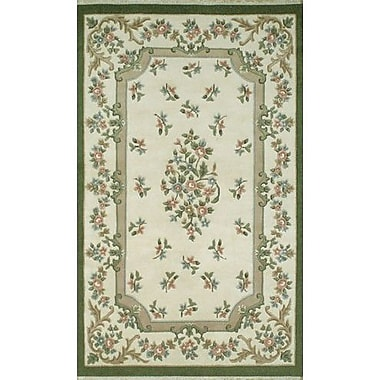 American Home Rug Co. French Country Aubusson Ivory/Emerald Floral Area Rug; Runner 2'6'' x 8'