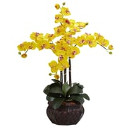 Nearly Natural Phalaenopsis with Decorative Vase Silk Flower Arrangement in Yellow