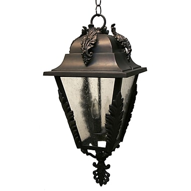 Melissa Parisian Elegance 3 Light Outdoor Hanging Lantern; Black