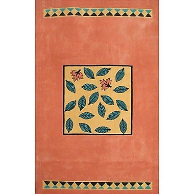 American Home Rug Co. Bright Garden Leaves Peach/Yellow Area Rug; 3'6'' x 5'6''