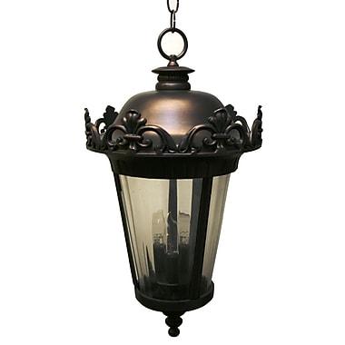 Melissa Parisian Elegance 3 Light Outdoor Hanging Lantern; Black