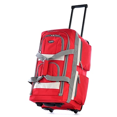 Olympia Eight Pocket 22'' Rolling Duffel; Red