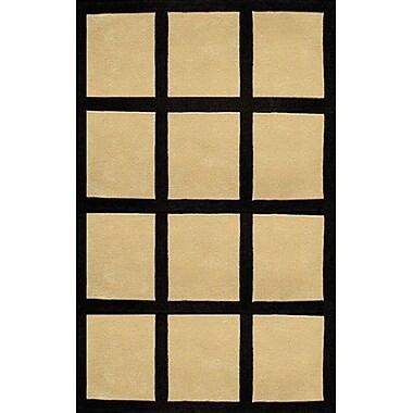 American Home Rug Co. Bright Sand/Black Window Blocks Area Rug; 5' x 8'