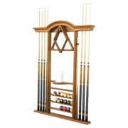The Level Best Deluxe Wall Pool Cue Rack; Traditional Mahogany