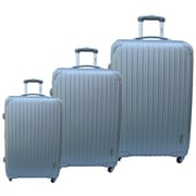 McBrine Luggage Eco-friendly 3 Piece Hardsided Spinner Luggage Set; Silver