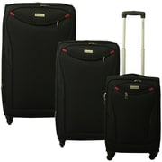 McBrine Luggage 3 Piece Spinner Luggage Set II; Black