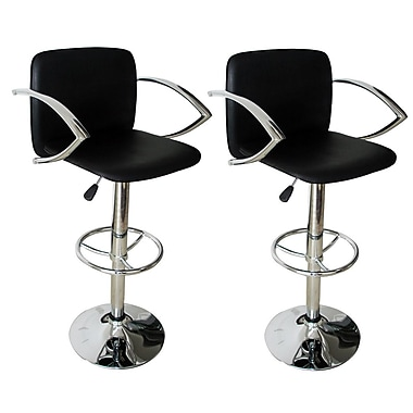 Buffalo Tools 23.5'' Adjustable Swivel Bar Stool with Cushion (Set of 2)