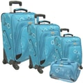 McBrine Luggage 4 Piece Luggage Set; Aqua