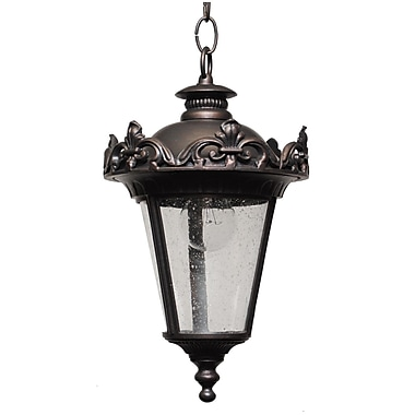 Melissa Parisian Elegance 1 Light Outdoor Hanging Lantern; Aged Silver