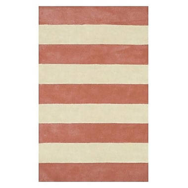 American Home Rug Co. Beach Rug Light Coral/Ivory Boardwalk Stripes Rug; Runner 2'6'' x 10'