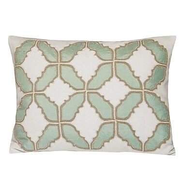 Kevin O'Brien Studio Baroque Embellished Tiles Cotton Lumbar Pillow; Mint