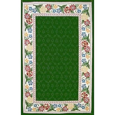 American Home Rug Co. Bucks County Emerald Green/Ivory Damask Area Rug; Runner 2'6'' x 8'