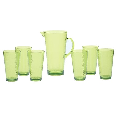 Certified International Acrylic Hammered Glass Drinkware Set; Lime Green