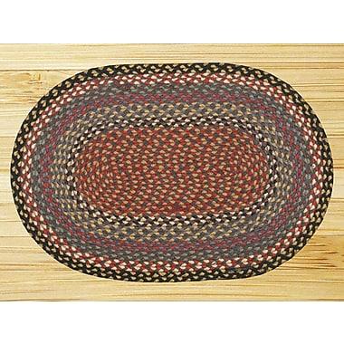 EarthRugs Burgundy/Blue/Gray Braided Area Rug; Oval 4' x 6'