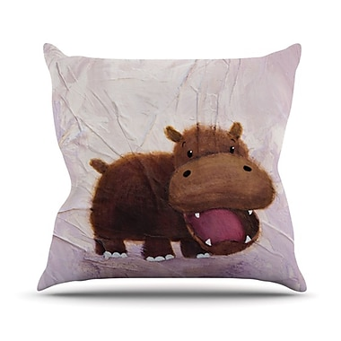 KESS InHouse The Happy Hippo Throw Pillow; 20'' H x 20'' W