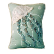 Rightside Design I Sea Life Jellyfish Toss Cotton Throw Pillow; Seafoam