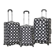 Rockland Fusion 3 Piece Monte Carlo Spinner Luggage Set; Black Dot
