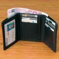 Winn International Cowhide Drum-Dyed Nappa Leather Tri Fold Wallet; Black
