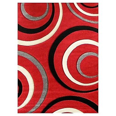 DonnieAnn Company Studio 605 Red Geometric Area Rug; 7' x 5'