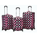 Rockland Fusion 3 Piece Monte Carlo Spinner Luggage Set; MultiPink Dot