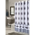 Carnation Home Fashions Ez On Harlequin Fabric Shower Curtain; Extra Long
