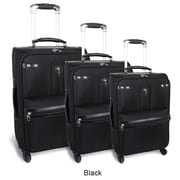 J World Centennial 3 Piece 4 Wheels Expandable Luggage Set; Black