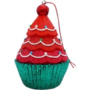 Sandicast Tree Top Cupcake Christmas Tree Ornament; Magenta