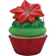 Sandicast Poinsettia Cupcake Christmas Tree Ornament; Green
