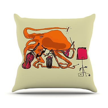KESS InHouse Playful Octopus Throw Pillow; 26'' H x 26'' W