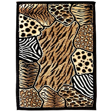 DonnieAnn Company Skinz 74 Mixed Brown Animal Skin Prints Patchwork Area Rug; 7' x 5'
