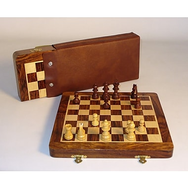 Pleasantime 10'' Folding Wood Magnetic Chess Set