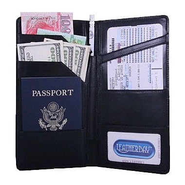 Leatherbay International Travel Leather Wallet; Black