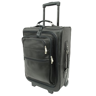 Piel Traveler 19'' Multi-Pocket Wheeler Suitcase; Black