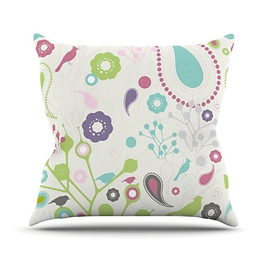 KESS InHouse Bird Song Throw Pillow; 18'' H x 18'' W