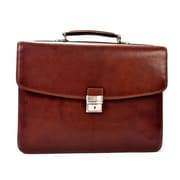 Tony Perotti Gaetano Double Gusset Leather Laptop Briefcase; Brown