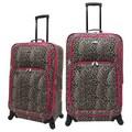 U.S. Traveler Fashion 2 Piece Spinner Luggage Set; Leopard