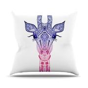 KESS InHouse Rainbow Giraffe Throw Pillow; 18'' H x 18'' W