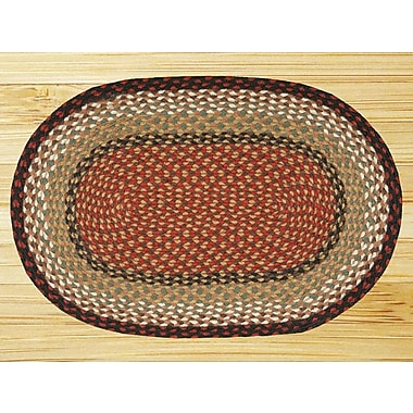 EarthRugs Burgundy/Mustard Braided Area Rug; Oval 2'3'' x 3'9''