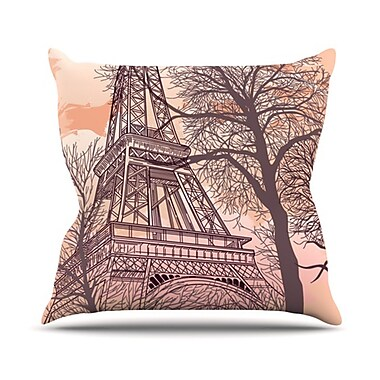 KESS InHouse Eiffel Tower Throw Pillow; 18'' H x 18'' W